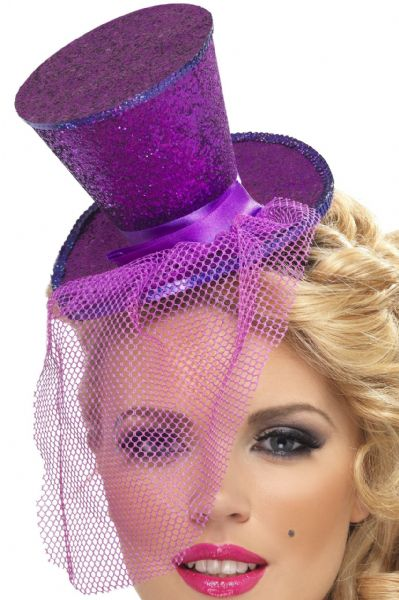 Burlesque Mini Top Hat On Headband Purple
